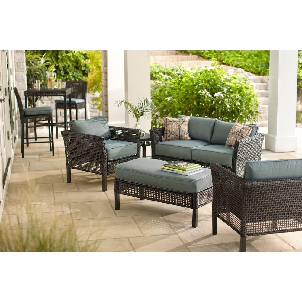 Hampton Bay Fenton 4 Piece Wicker Outdoor Patio Seating Set With Pertaining To Latest Patio Conversation Sets (View 14 of 15)