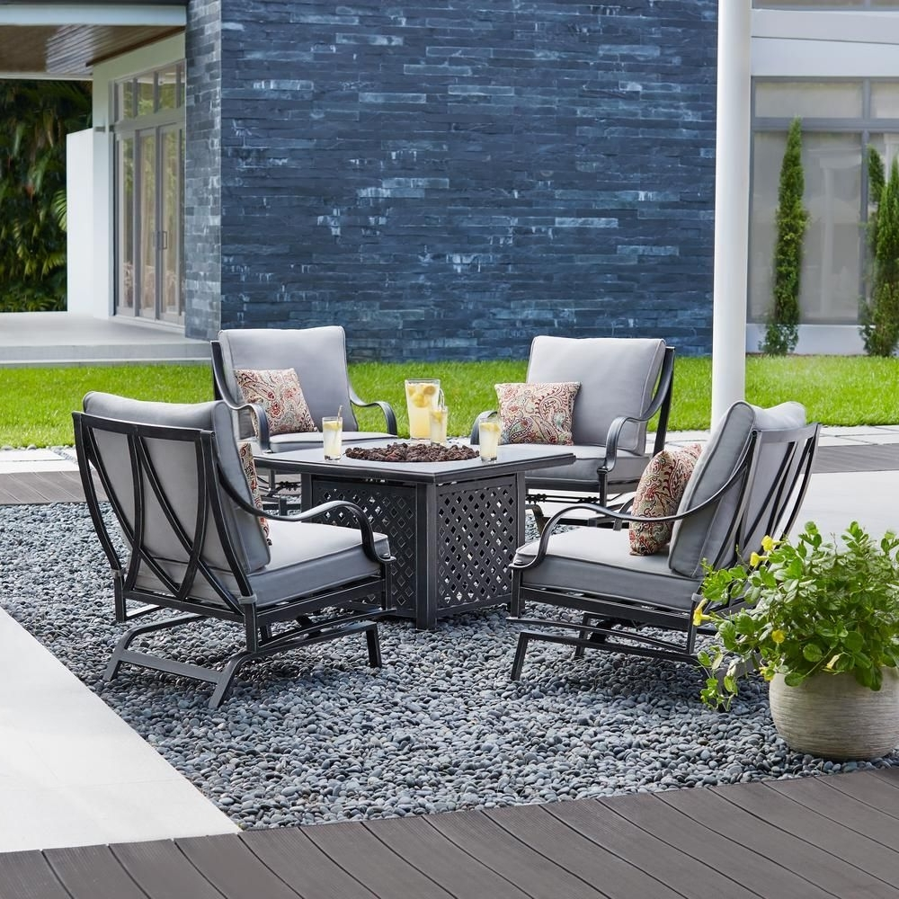 Hampton Bay Highland Point 5 Piece Aluminum And Steel Patio Fire Pit Inside Favorite Patio Conversation Sets With Fire Table (View 12 of 15)