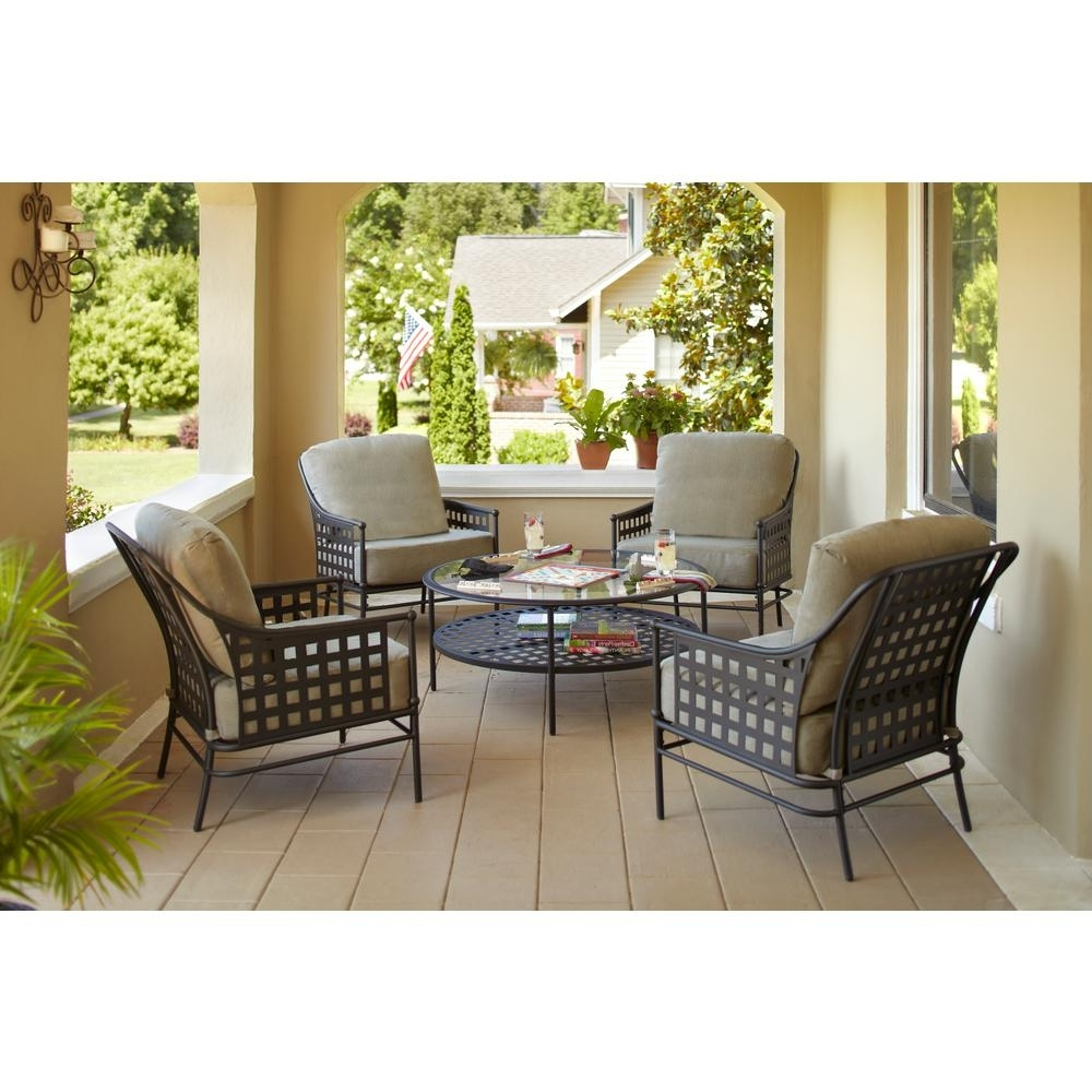 Hampton Bay Lynnfield 5 Piece Patio Conversation Set With Gray Beige Inside Current Dot Patio Conversation Sets (View 9 of 15)