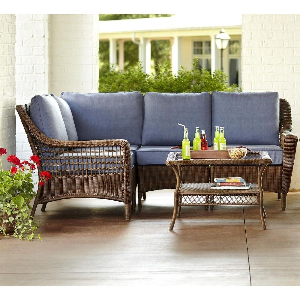 Hampton Bay Spring Haven Brown 5 Piece All Weather Wicker Patio Inside Best And Newest Patio Furniture Conversation Sets At Home Depot (View 10 of 15)