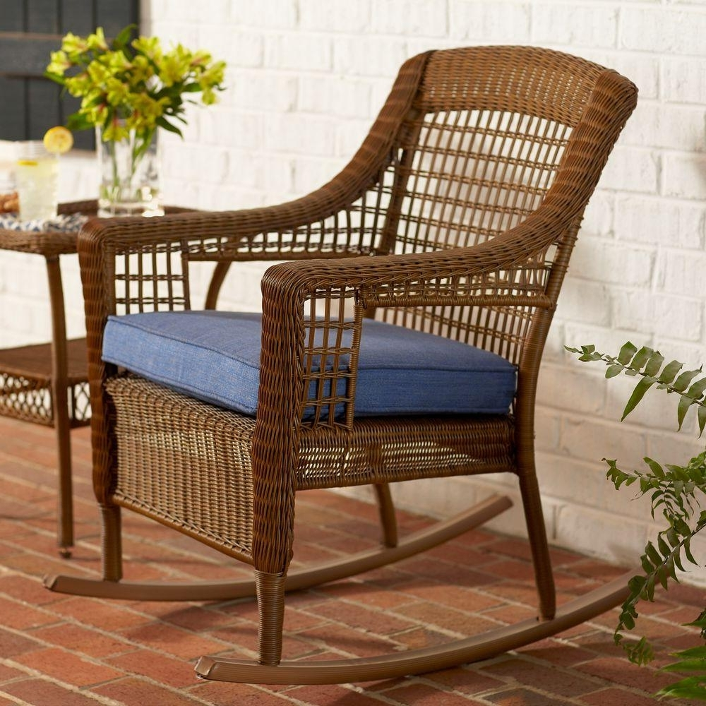 Hampton Bay Spring Haven Brown All Weather Wicker Outdoor Patio Intended For Most Recently Released Patio Rocking Chairs With Cushions (View 8 of 15)