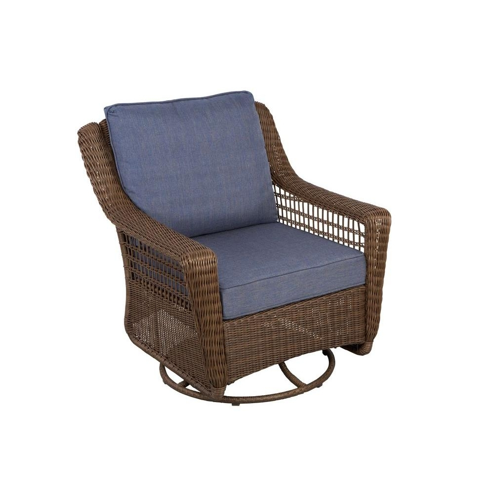 Hampton Bay Spring Haven Brown All Weather Wicker Outdoor Patio Regarding Popular Outdoor Wicker Rocking Chairs With Cushions (View 9 of 15)