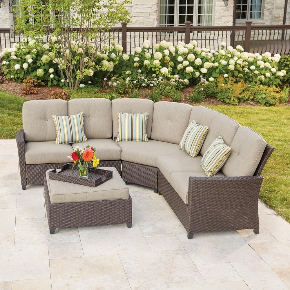 Hampton Bay Tacana 4 Piece Wicker Patio Sectional Set With Beige For Most Up To Date Patio Sectional Conversation Sets (View 14 of 15)