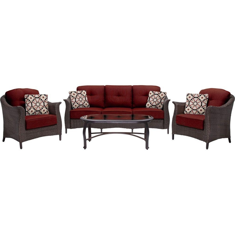 Hanover Gramercy 4 Piece All Weather Wicker Patio Deep Seating Set Throughout Favorite Red Patio Conversation Sets (View 4 of 15)