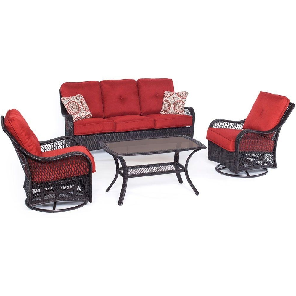 Hanover Orleans 4 Piece All Weather Wicker Patio Deep Seating Set Intended For 2017 Patio Conversation Sets With Glider (View 7 of 15)