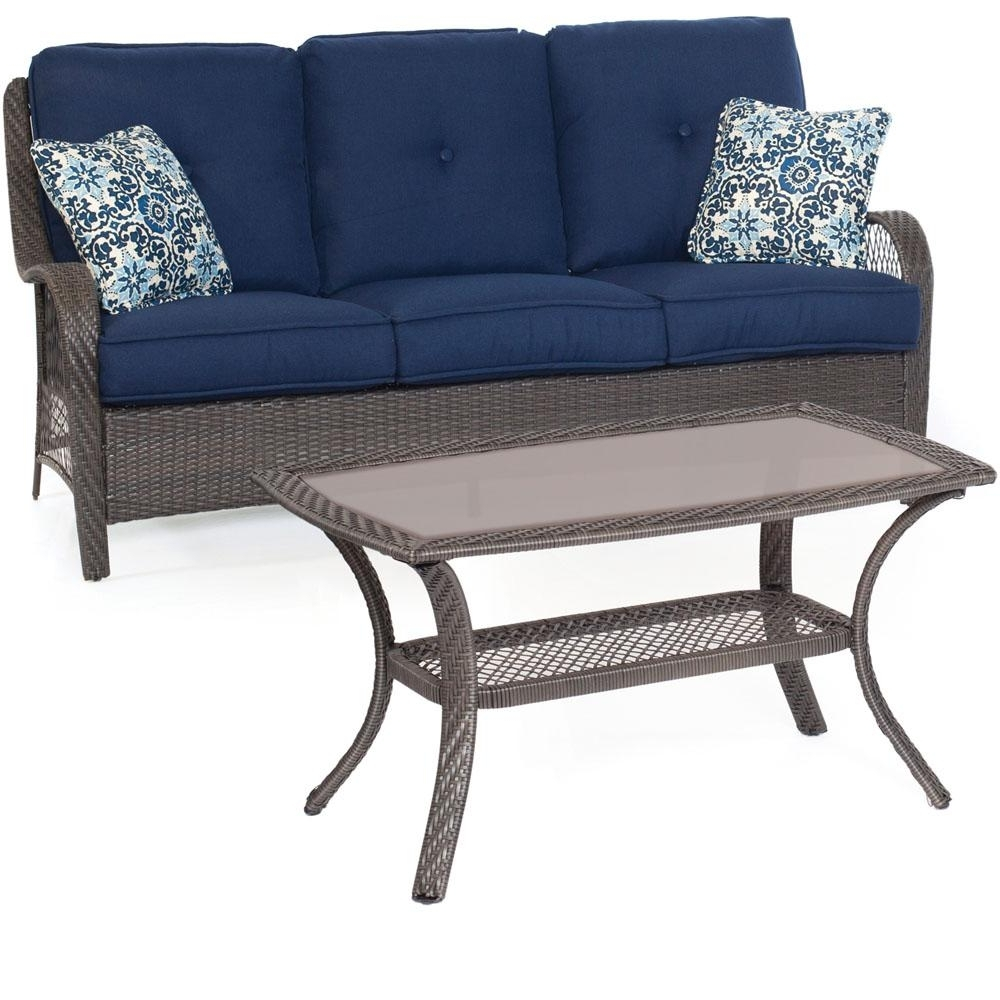 Hanover Orleans Grey 2 Piece All Weather Wicker Patio Conversation With Regard To Well Known Patio Conversation Sets With Blue Cushions (View 5 of 15)