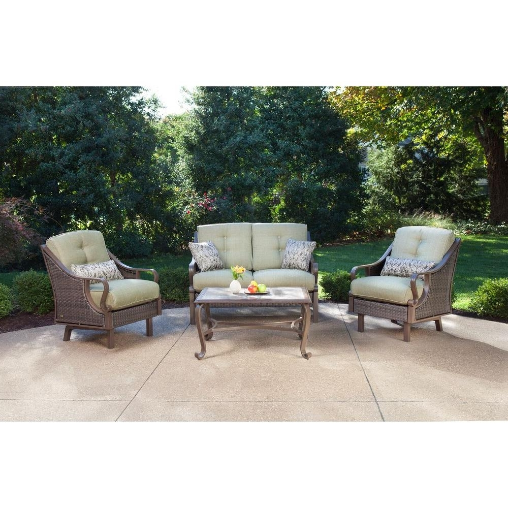 Hanover Ventura 4 Piece Patio Conversation Set With Vintage Meadow Inside Fashionable Patio Conversation Sets Without Cushions (View 5 of 15)