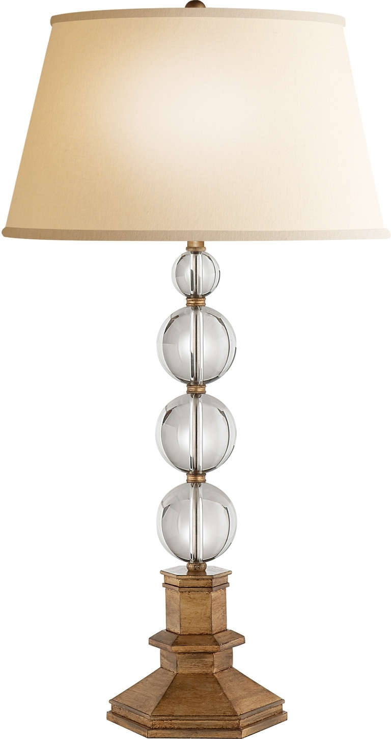 Hexagonal Varnished Wood Table Lamp Base With Clear Glass Crystal Pertaining To Most Recently Released Crystal Living Room Table Lamps (View 8 of 15)