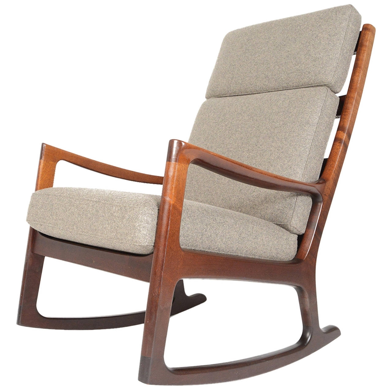 High Back Rocking Chairs With Regard To Most Up To Date Ole Wanscher Mahogany Highback Rocking Chair At 1Stdibs (View 1 of 15)