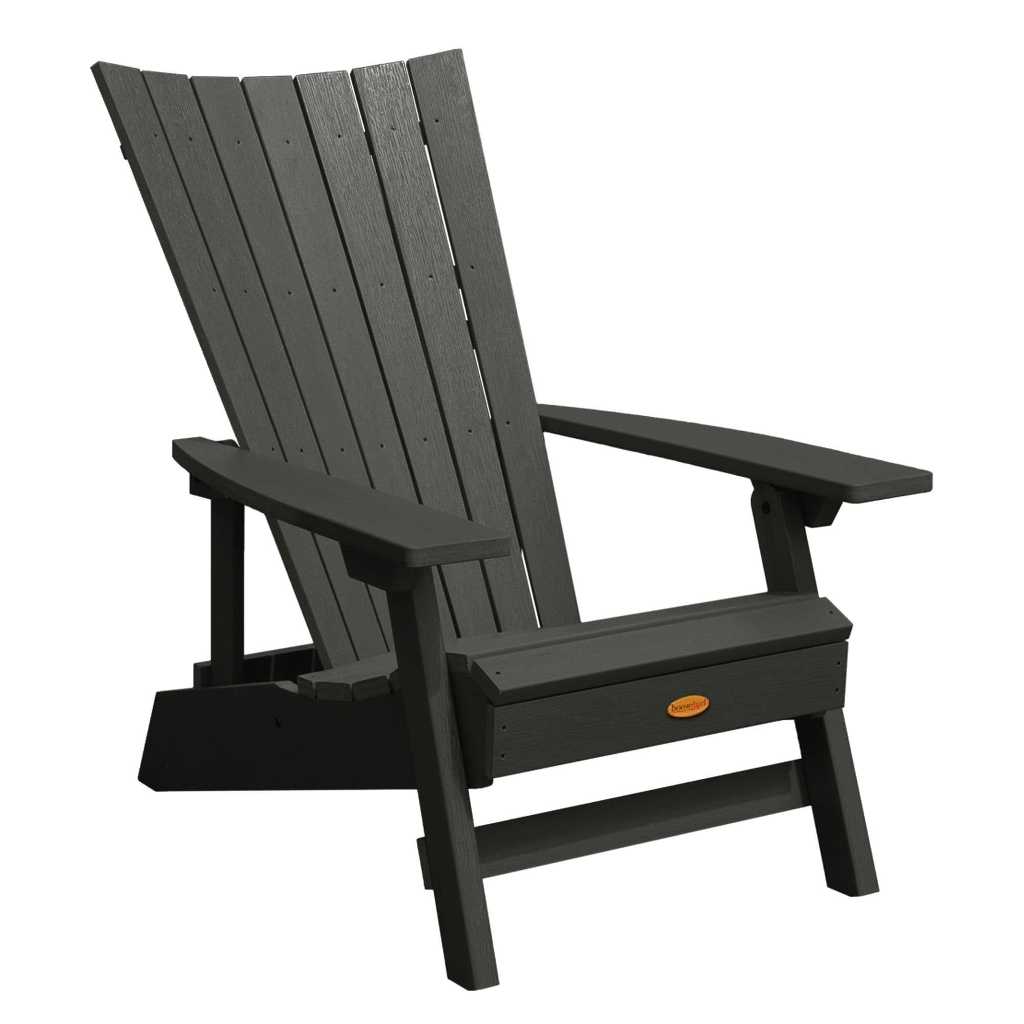 Highwood Manhattan Beach Adirondack Chair (Black), Size Single Within Fashionable Manhattan Patio Grey Rocking Chairs (View 6 of 15)