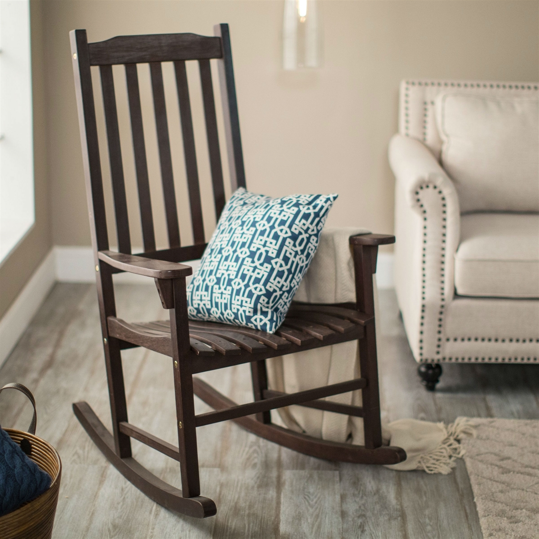 Indoor/outdoor Dark Brown Slat Rocking Chair (Gallery 11 of 15)