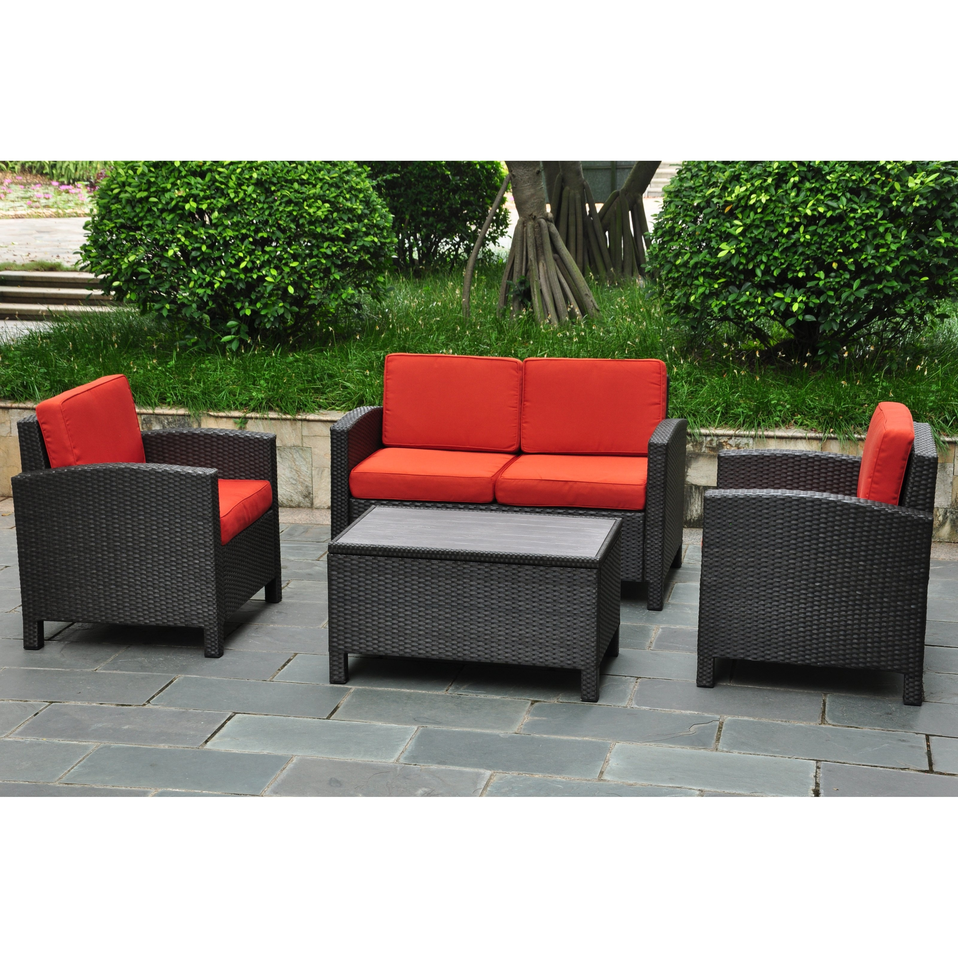 International Caravan Barcelona Resin Wicker Outdoor Patio Set With Throughout 2017 Patio Conversation Sets With Storage (View 4 of 15)