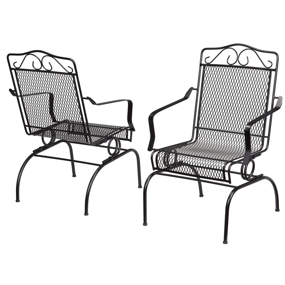 Iron Rocking Patio Chairs With Famous Hampton Bay Nantucket Rocking Metal Outdoor Dining Chair (2 Pack (View 1 of 15)