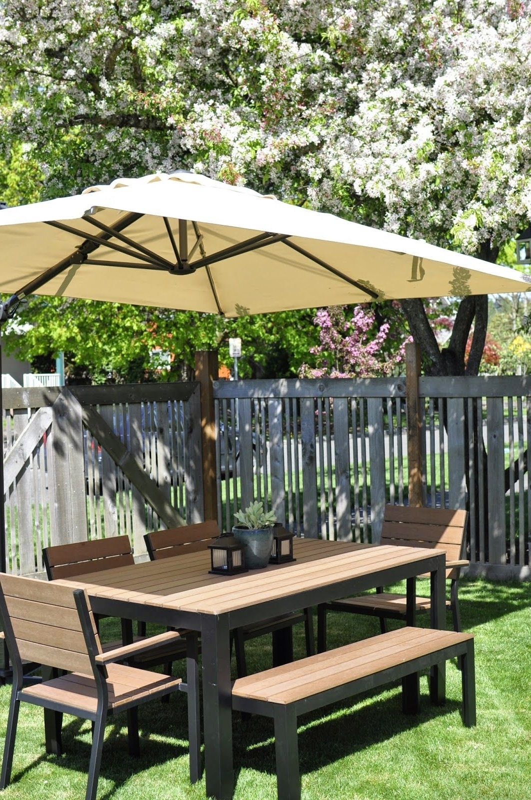 Large Umbrella, Bench And With Regard To Ikea Patio Conversation Sets (View 7 of 15)