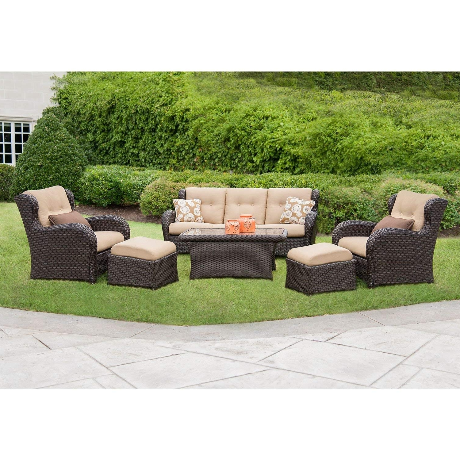 Latest Amazon : Outdoor Patio Furniture, Deep Seating Set With Premium Throughout Patio Conversation Sets At Sam's Club (View 10 of 15)