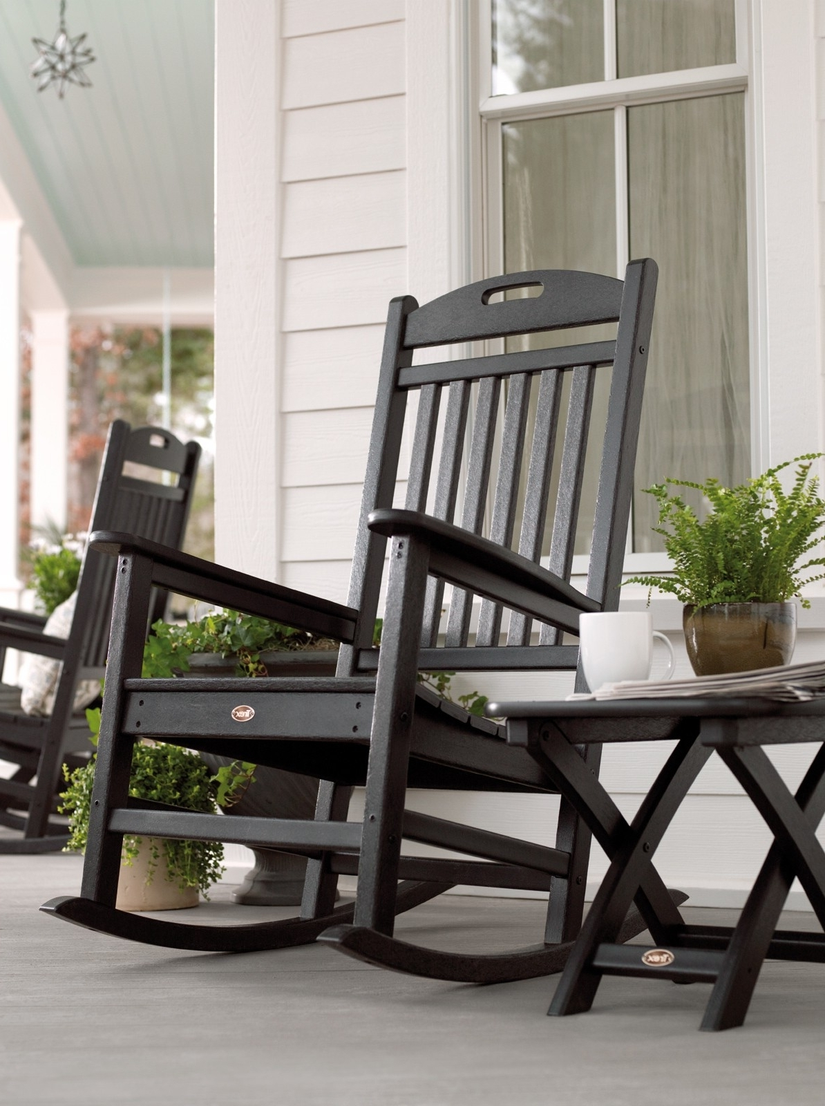 Latest Black Patio Rocking Chairs With Regard To Patio & Garden : Outdoor Rocking Chair Seat Cushions Outdoor Rocking (View 9 of 15)