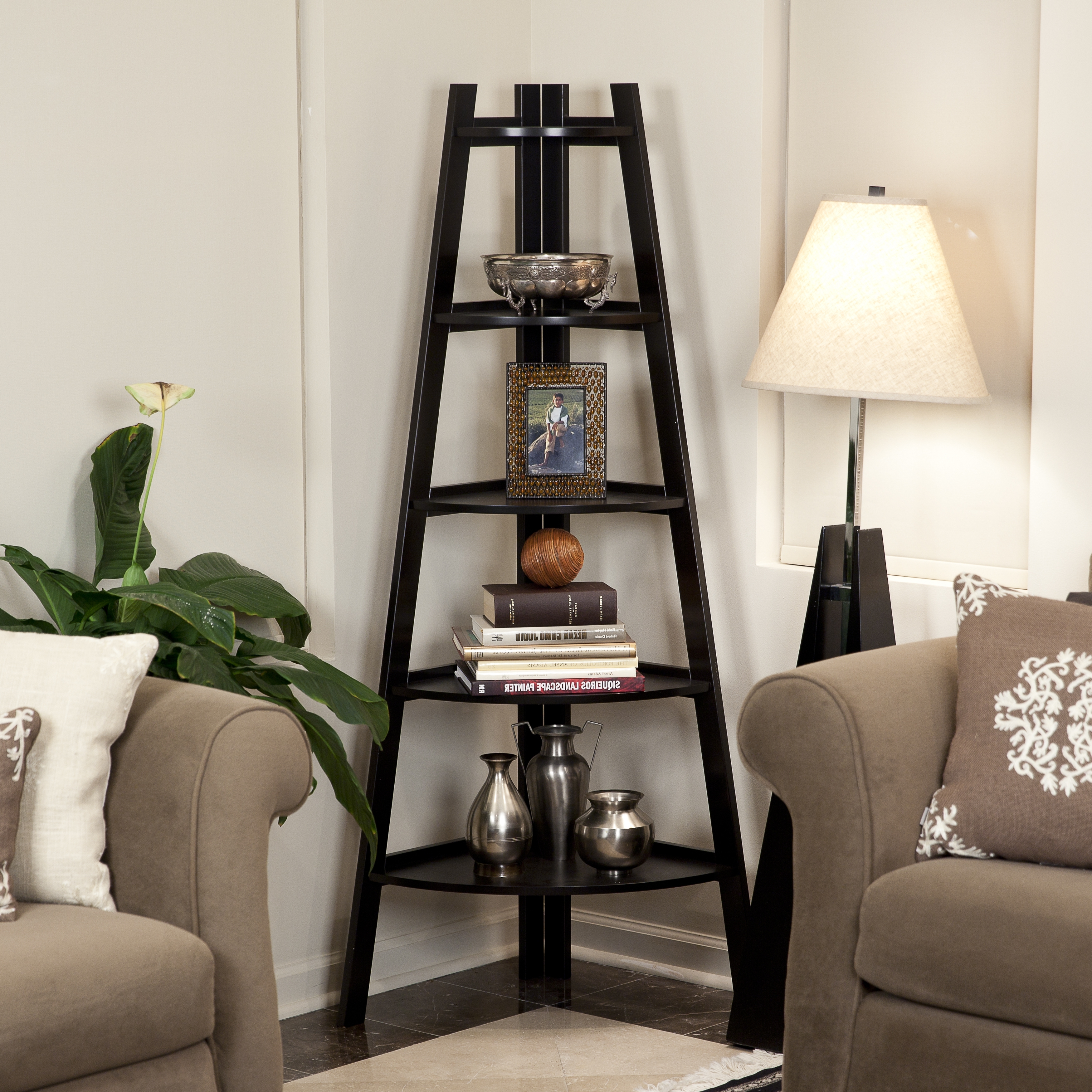 Latest Brown Living Room Table Lamps With Regard To Glamorous Corner Ladder Shelf 28 Inspiration Storage Wonderful (View 9 of 15)