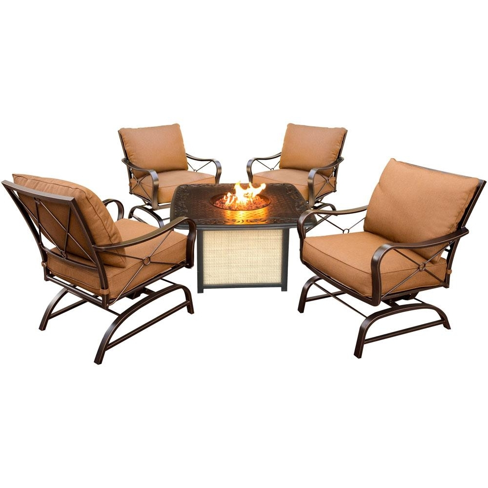 Latest Cambridge Bradford 5 Piece All Weather Patio Conversation Set And Intended For Patio Conversation Sets With Fire Pit Table (View 7 of 15)