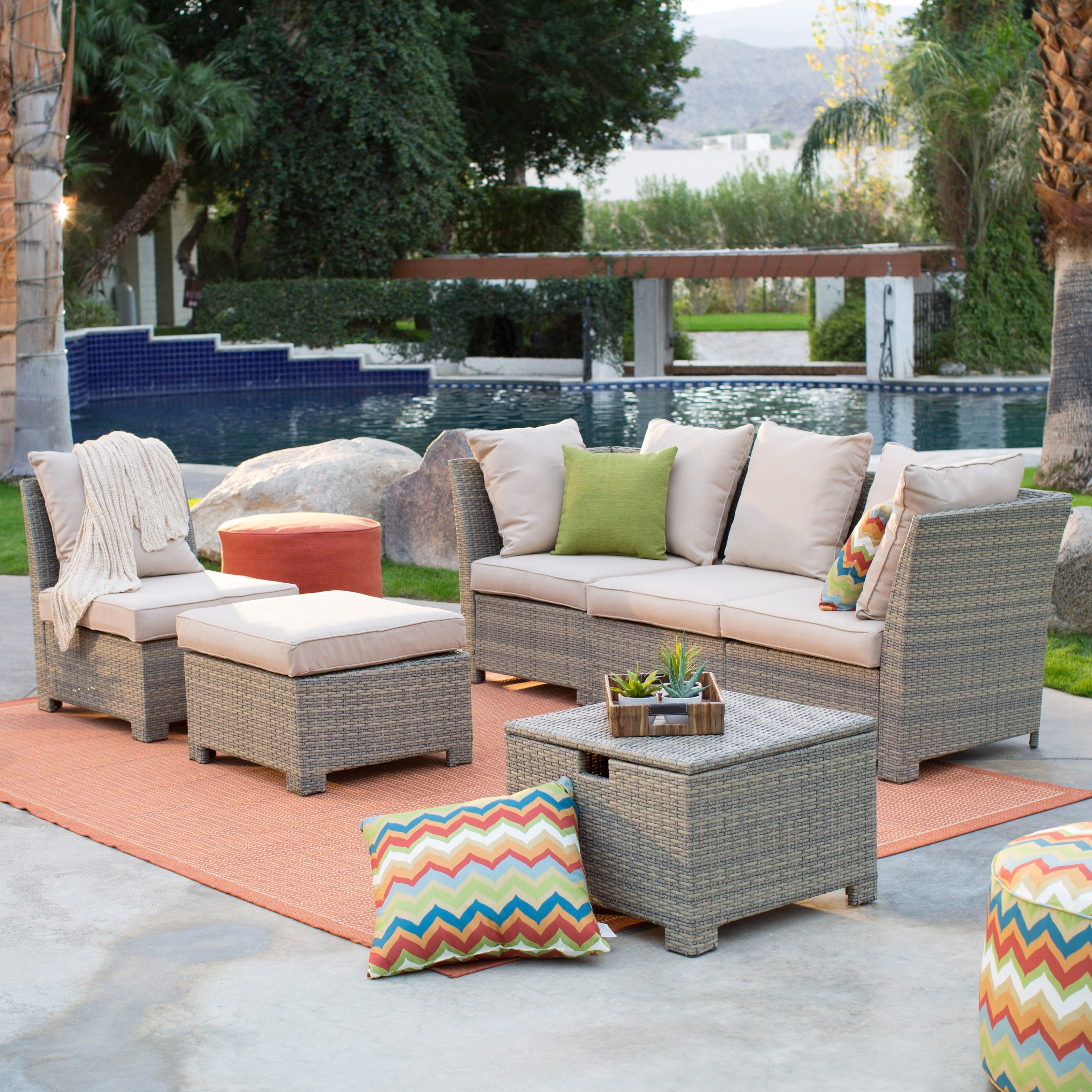 Latest Coral Coast South Isle All Weather Wicker Natural Outdoor Inside Patio Sectional Conversation Sets (View 5 of 15)