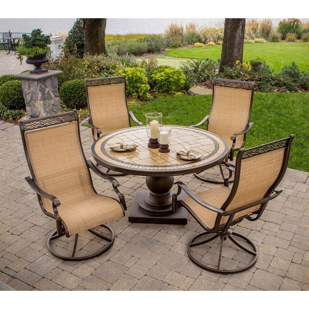 Latest Hanover Monaco 5 Piece Patio Outdoor Dining Set Monaco5Pcsw – The In Patio Conversation Dining Sets (View 5 of 15)