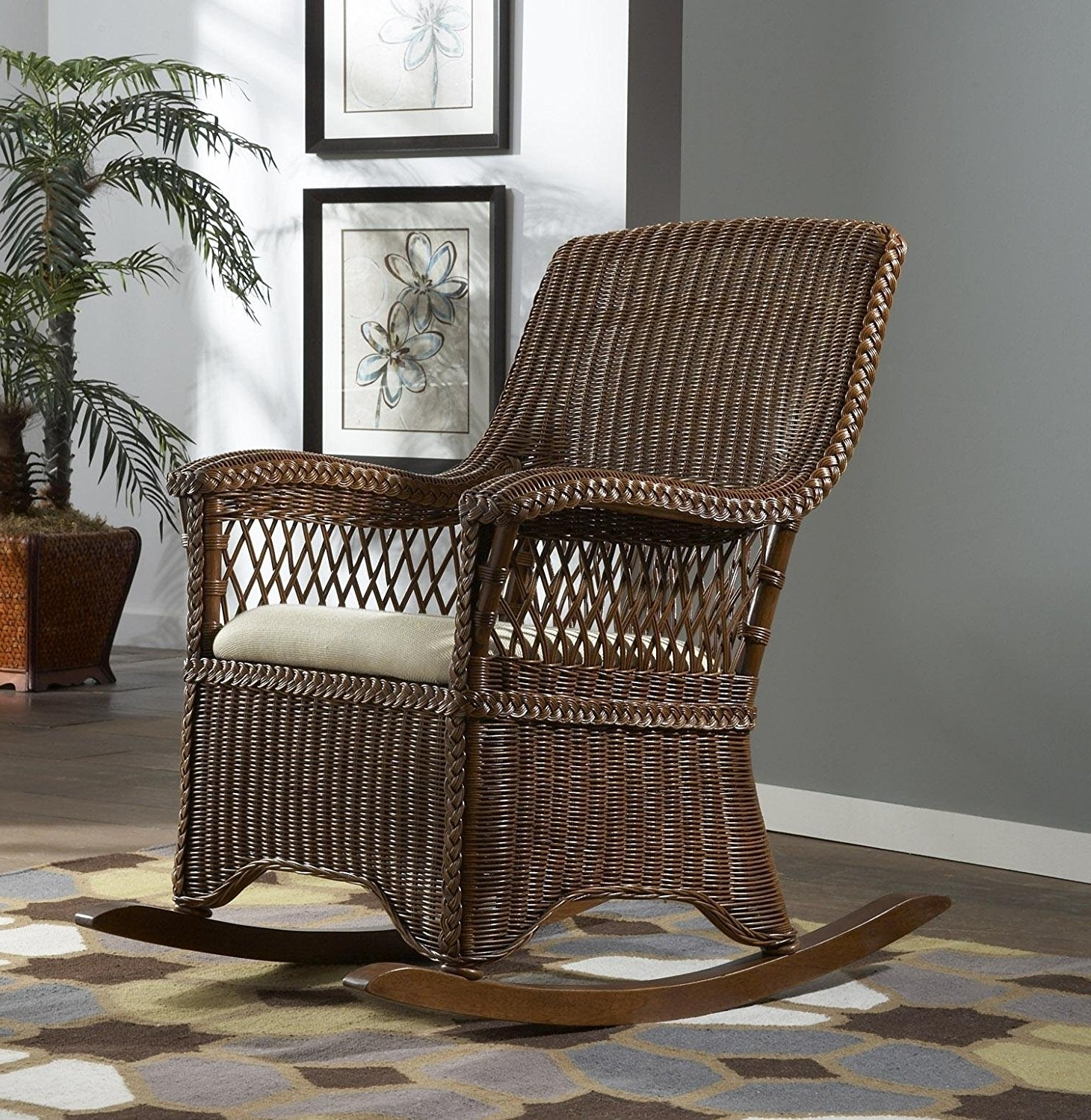 Latest Indoor Wicker Rocking Chairs With Wicker Indoor Rocking Chair With Cushion Baby Chairs For Nursery (View 8 of 15)