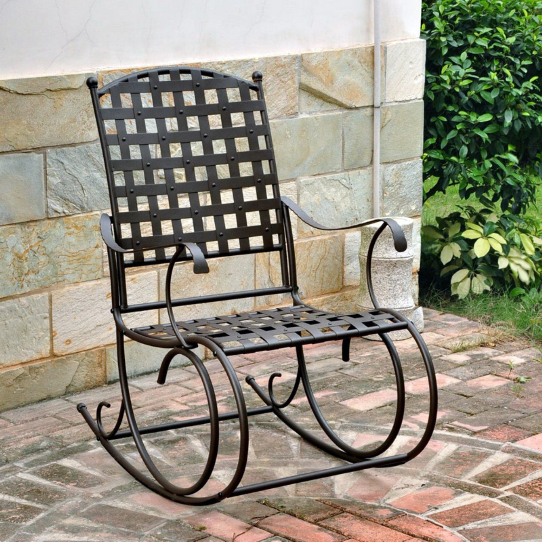 Latest Outdoor International Caravan Santa Fe Iron Metal Patio Rocker In Wrought Iron Patio Rocking Chairs (View 2 of 15)