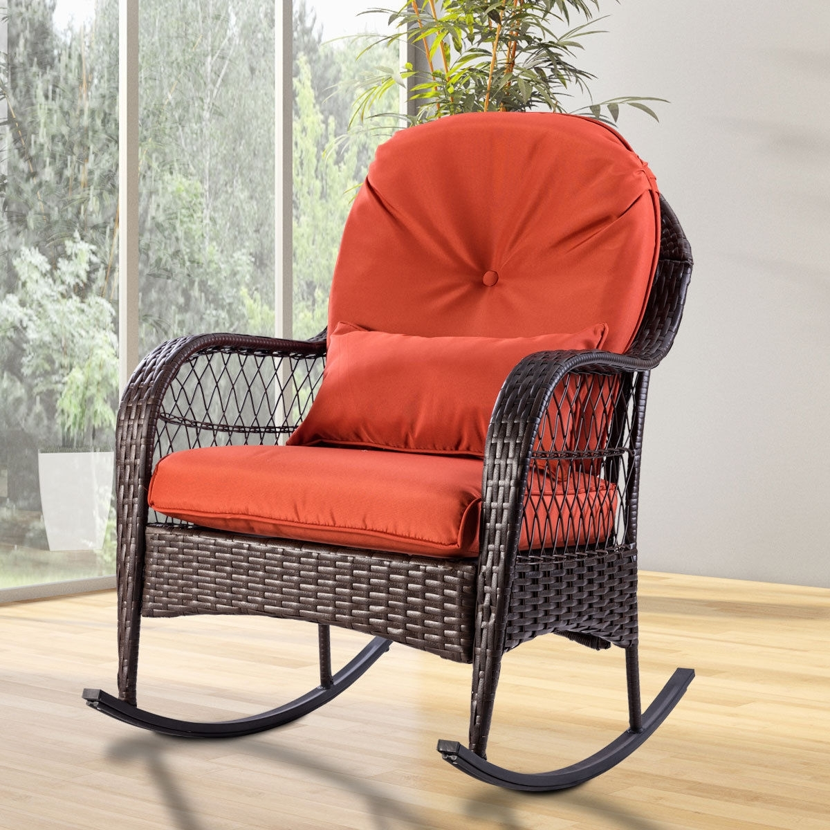 Latest Padded Patio Rocking Chairs With Giantex Patio Rattan Wicker Rocking Chair Modern Porch Deck Rocker (View 9 of 15)
