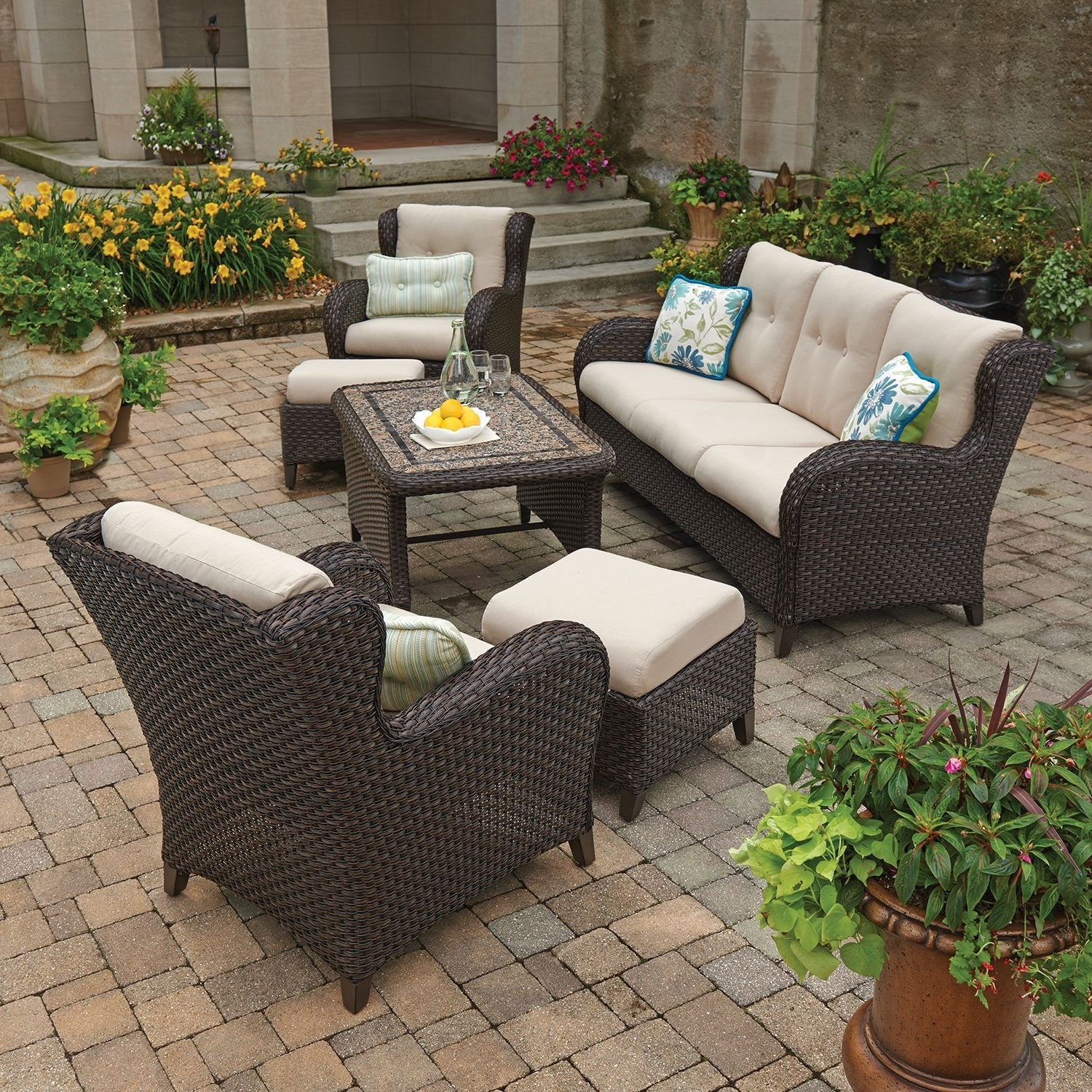 Latest Patio Conversation Sets At Sam's Club For Member's Mark Heritage 6 Piece Deep Seating Set With Premium (View 5 of 15)