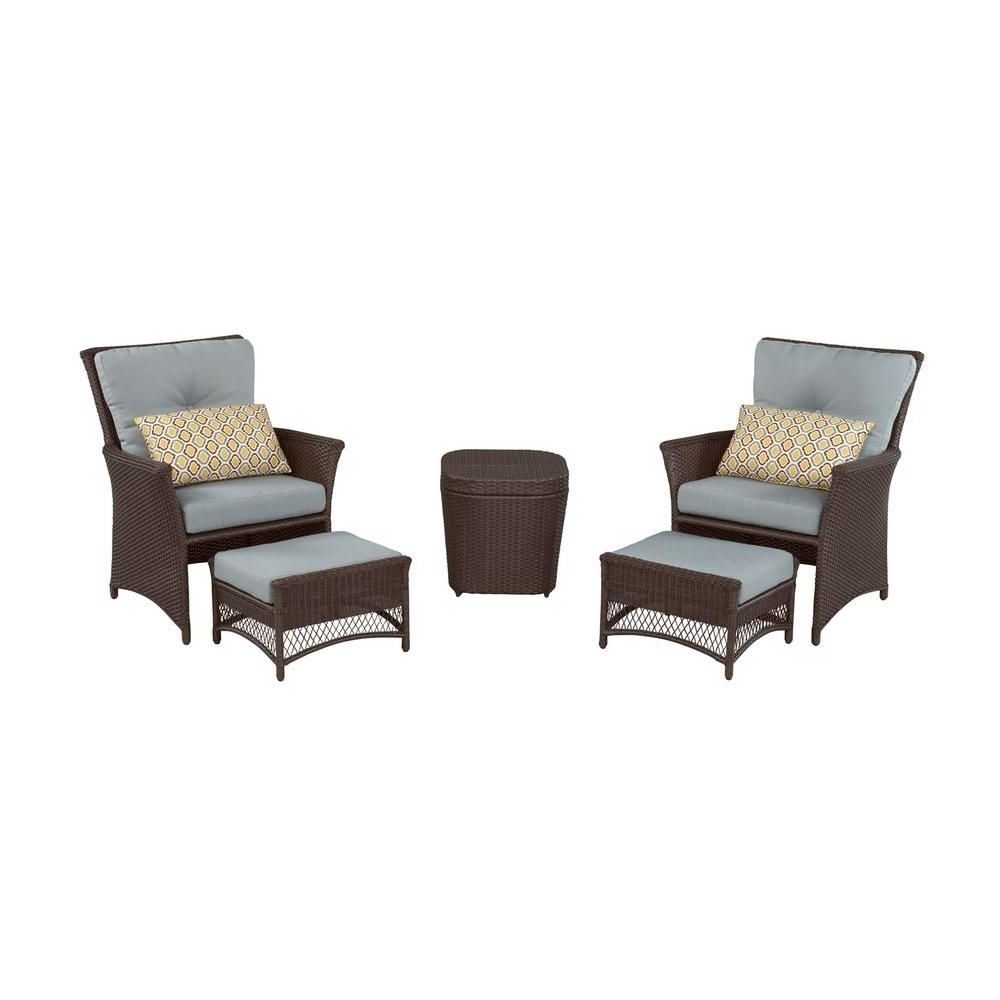 Latest Patio Conversation Sets With Blue Cushions Within Hampton Bay Blue Hill 5 Piece Patio Conversation Set With Blue Green (View 11 of 15)