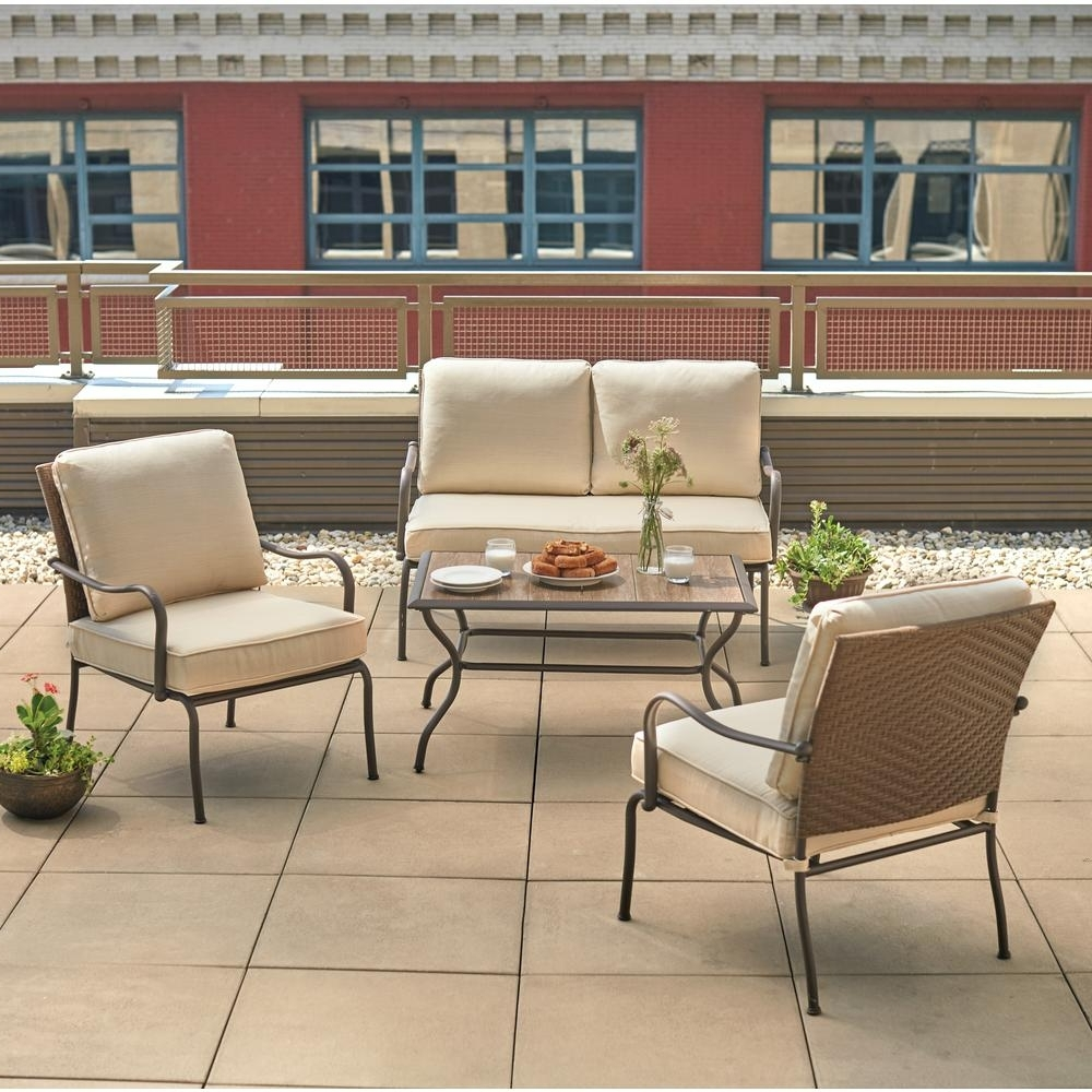 Latest Patio Conversation Sets With Cushions Pertaining To Hampton Bay Pin Oak 4 Piece Wicker Outdoor Patio Conversation Set (View 3 of 15)