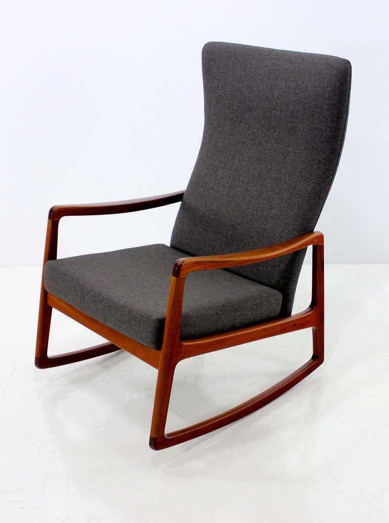 Latest Rare High Back Rocking Chair Designedole Wanscher (View 2 of 15)