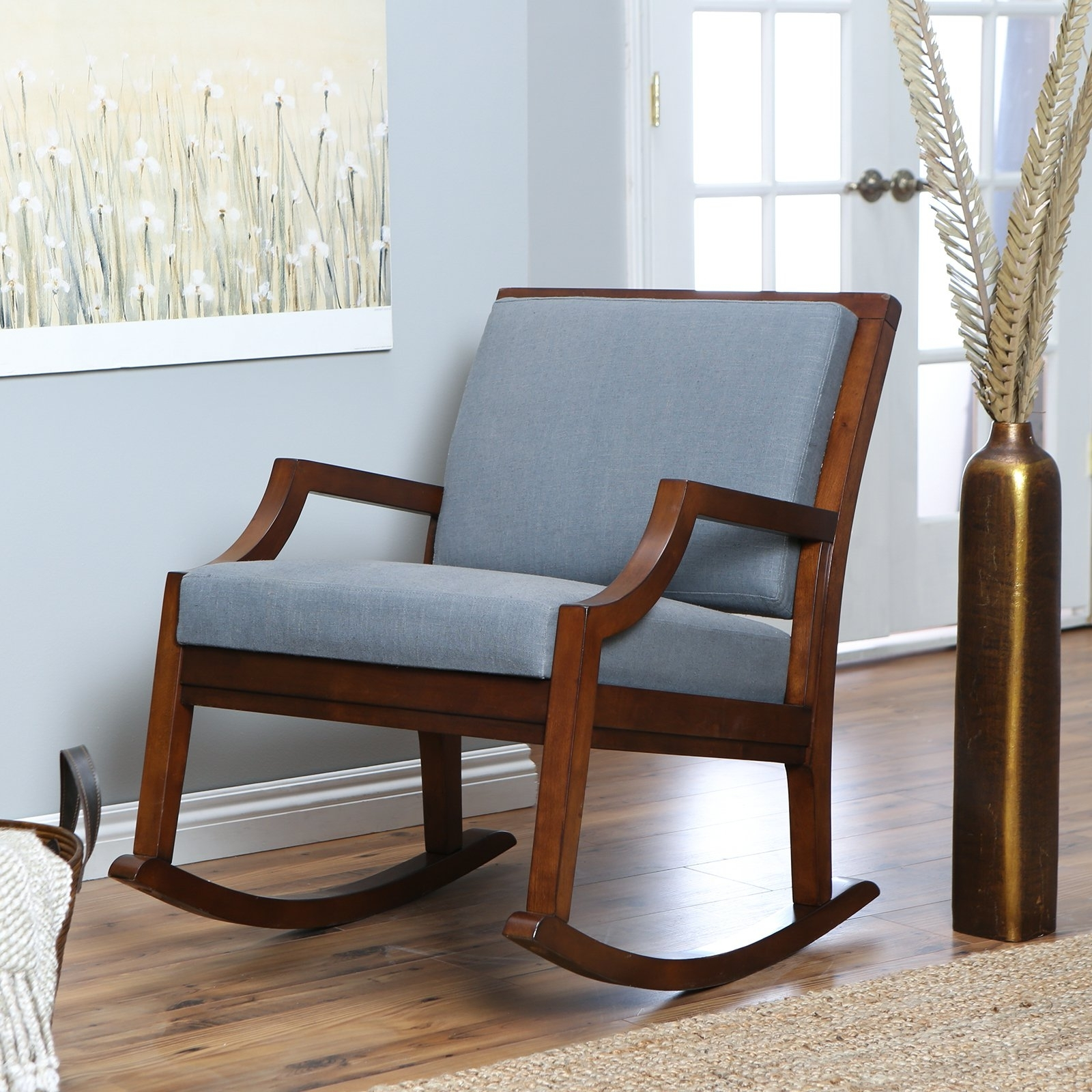 Latest Rocking Chairs With Cushions Throughout Brown Wooden Indoor Rocking Chairs With Blue Cushions Set On (View 3 of 15)