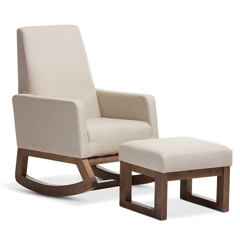 Latest Rocking Chairs With Ottoman Within Amazon: Baxton Studio Yashiya Mid Century Retro Modern Fabric (View 14 of 15)