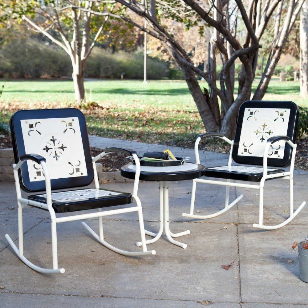 Latest Set Of 2 Outdoor Patio Furniture Vintage Retro Rocking Chairs Table Pertaining To Retro Outdoor Rocking Chairs (View 2 of 15)