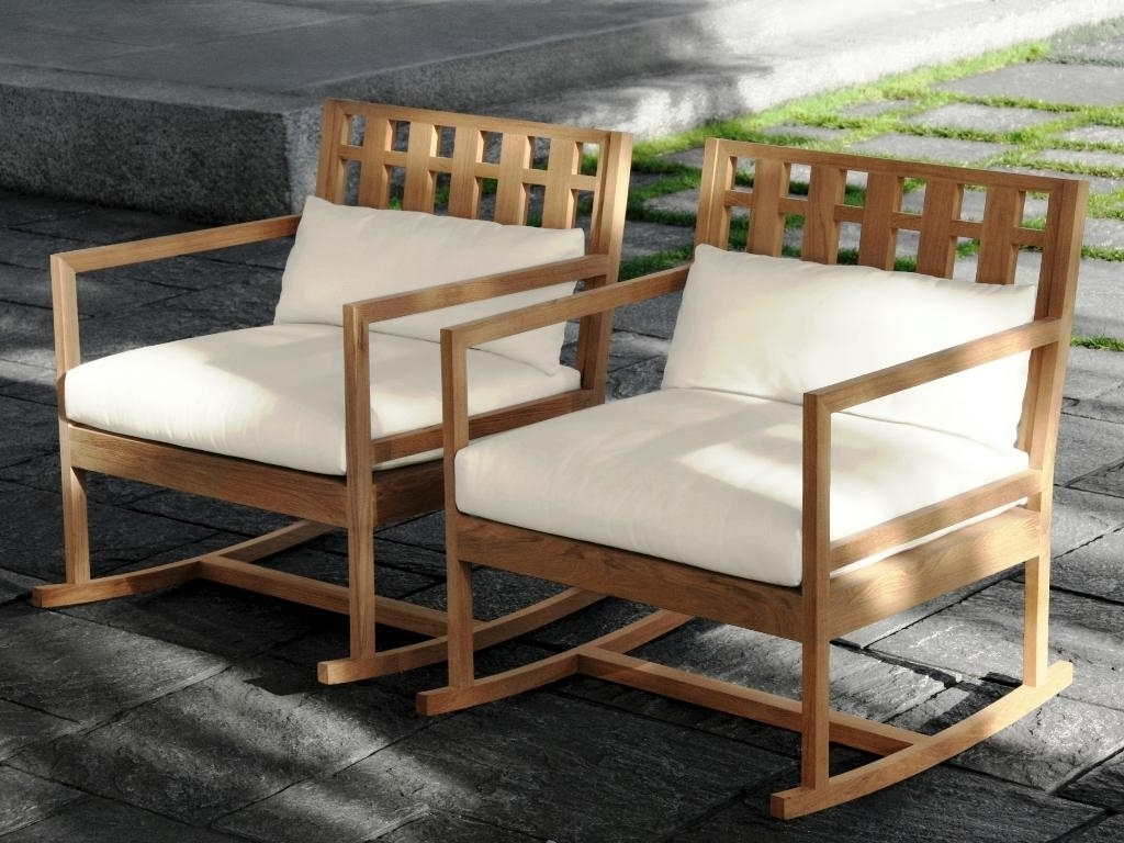 Latest Teak Patio Rocking Chairs Pertaining To Furniture: Cozy Teak Rocking Chairs For Outdoor Furniture As Modern (View 1 of 15)