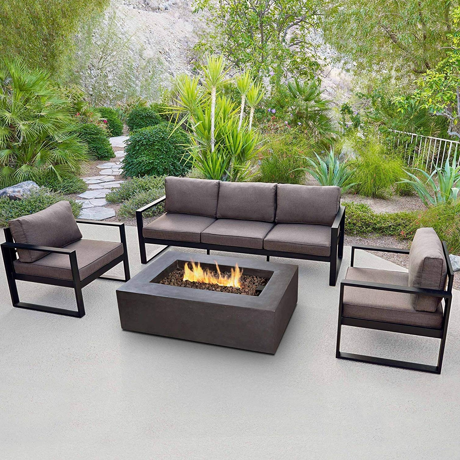 Latest Wayfair Outdoor Patio Conversation Sets In Real Flame 9621 Baltic 3 Seat Sofa (View 4 of 15)
