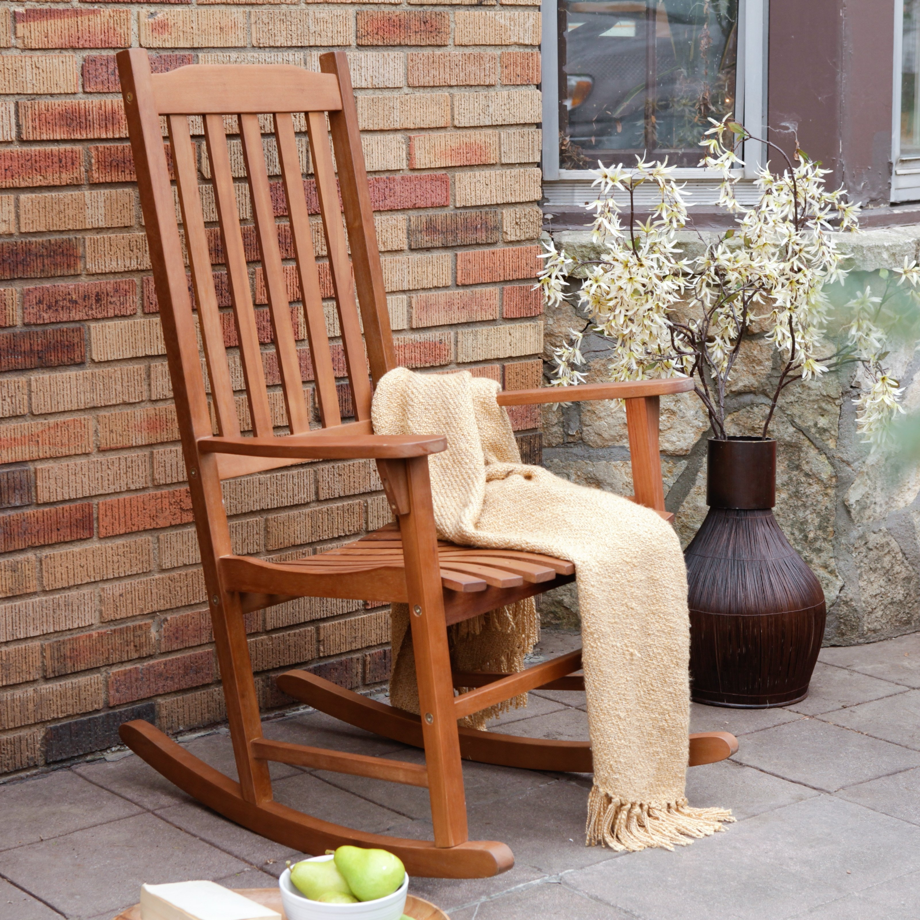 Latest Wooden Patio Rocking Chairs Pertaining To Coral Coast Indoor/outdoor Mission Slat Rocking Chair – Natural (View 6 of 15)