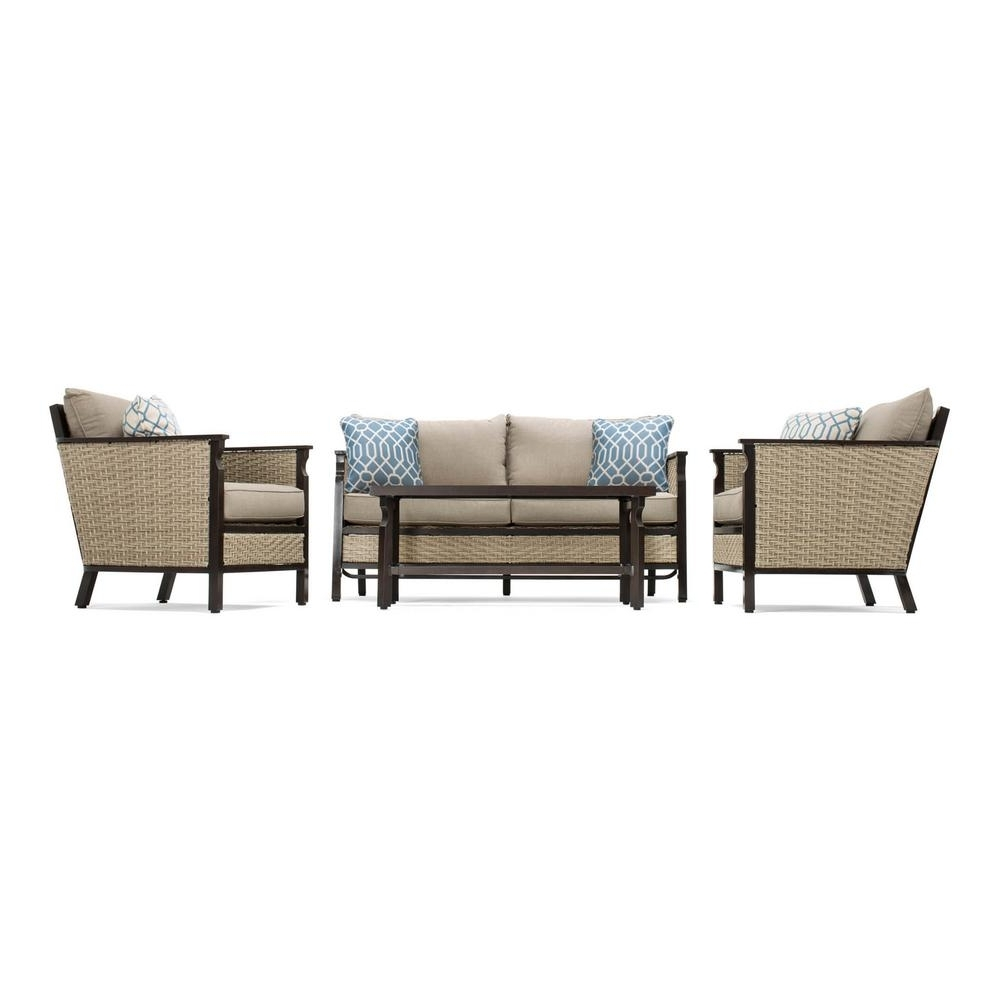 Lazy Boy Patio Conversation Sets Regarding Most Current La Z Boy Colton 4 Piece Wicker Outdoor Seating Set With Sunbrella (View 6 of 15)
