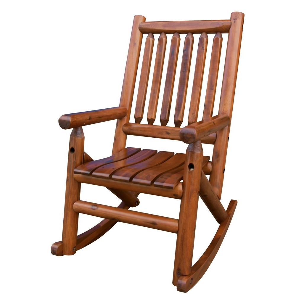 Leigh Country Amberlog Patio Rocking Chair Tx 36000 – The Home Depot In Latest Wooden Patio Rocking Chairs (View 5 of 15)