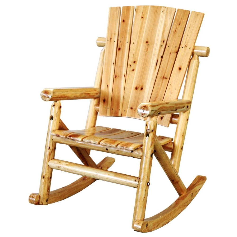 Leigh Country Aspen Wood Outdoor Rocking Chair Tx 95100 – The Home Depot Regarding Most Current Rocking Chairs For Adults (View 9 of 15)