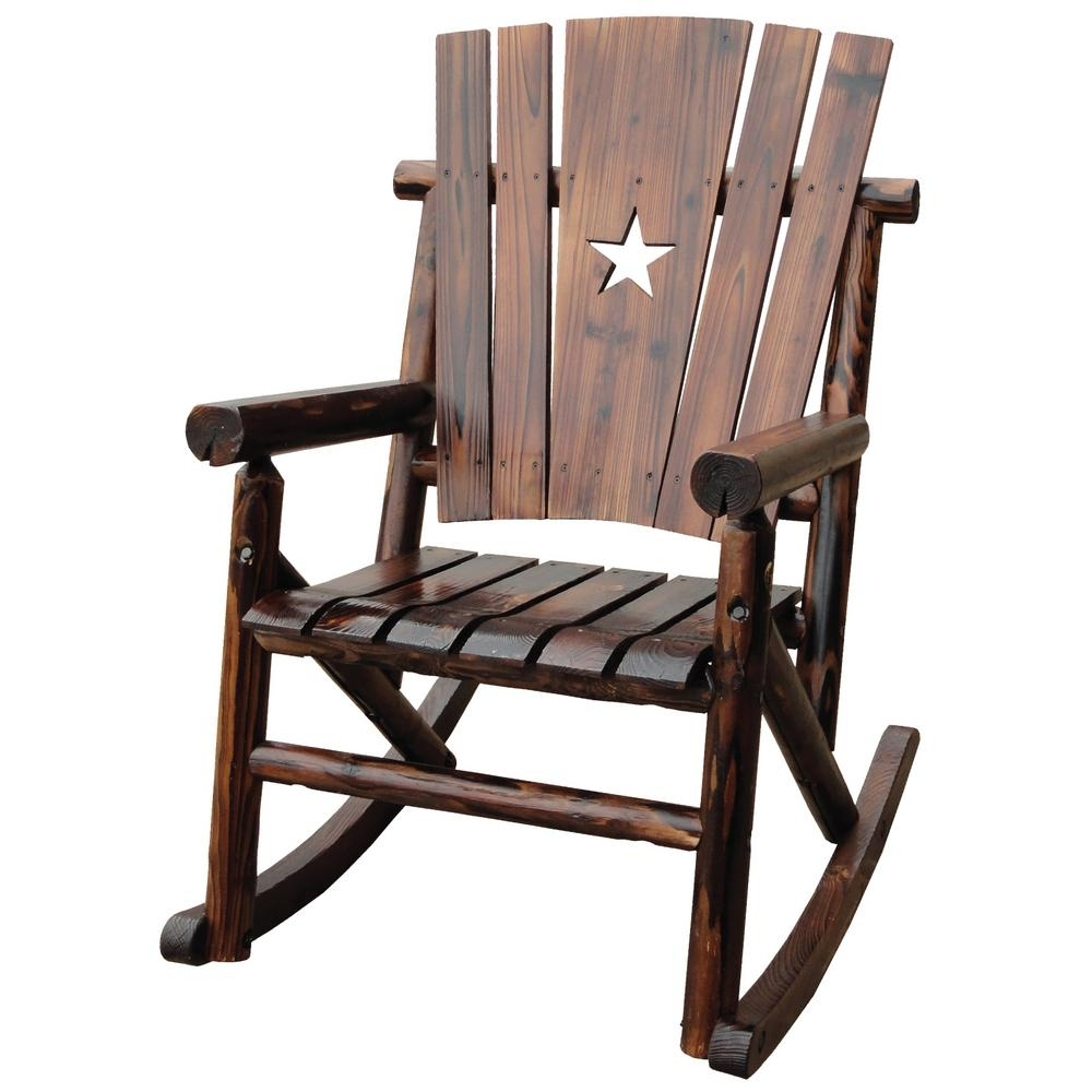 Leigh Country Char Log Patio Rocking Chair With Star Tx 93605 – The Regarding Well Liked Rocking Chair Outdoor Wooden (View 2 of 15)