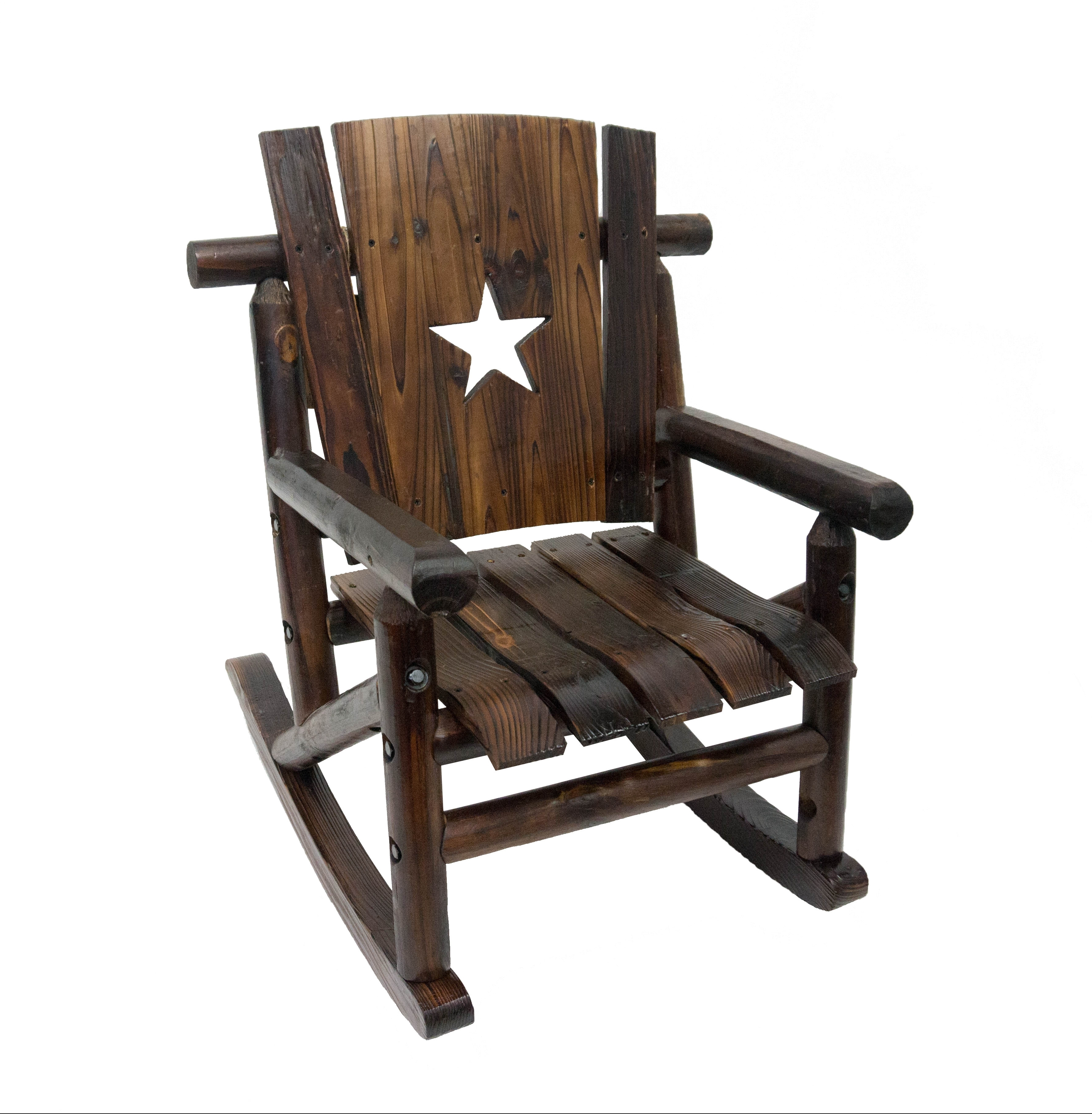 Leighcountry Char Log Junior Lil' Cut Out Star Single Rocking Chair Regarding Most Up To Date Char Log Patio Rocking Chairs With Star (View 10 of 15)