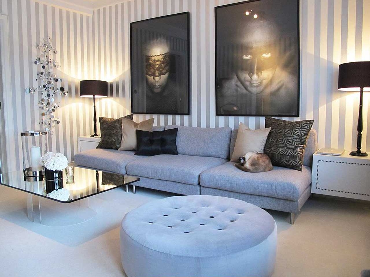 Living Room Coffee Table Lamps Intended For Best And Newest Funiture: Contemporary Living Room Furniture With Grey Sofa Made Of (View 7 of 15)