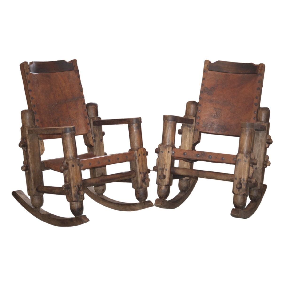 Lot #260: Vintage Mexican Wooden & Leather Rocking Chairs (View 8 of 15)