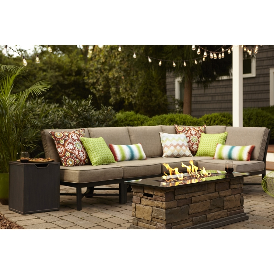 Lowes Patio Furniture Conversation Sets Intended For Preferred Shop Garden Treasures Palm City 5 Piece Black Steel Patio (View 7 of 15)