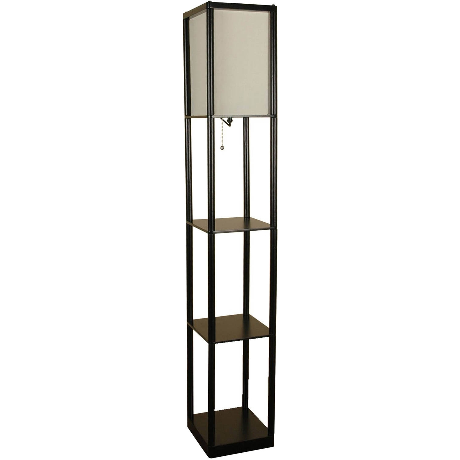 Mainstays Black Shelf Floor Lamp With White Shade On/off Cfl Bulb With Regard To Most Up To Date Walmart Living Room Table Lamps (View 12 of 15)