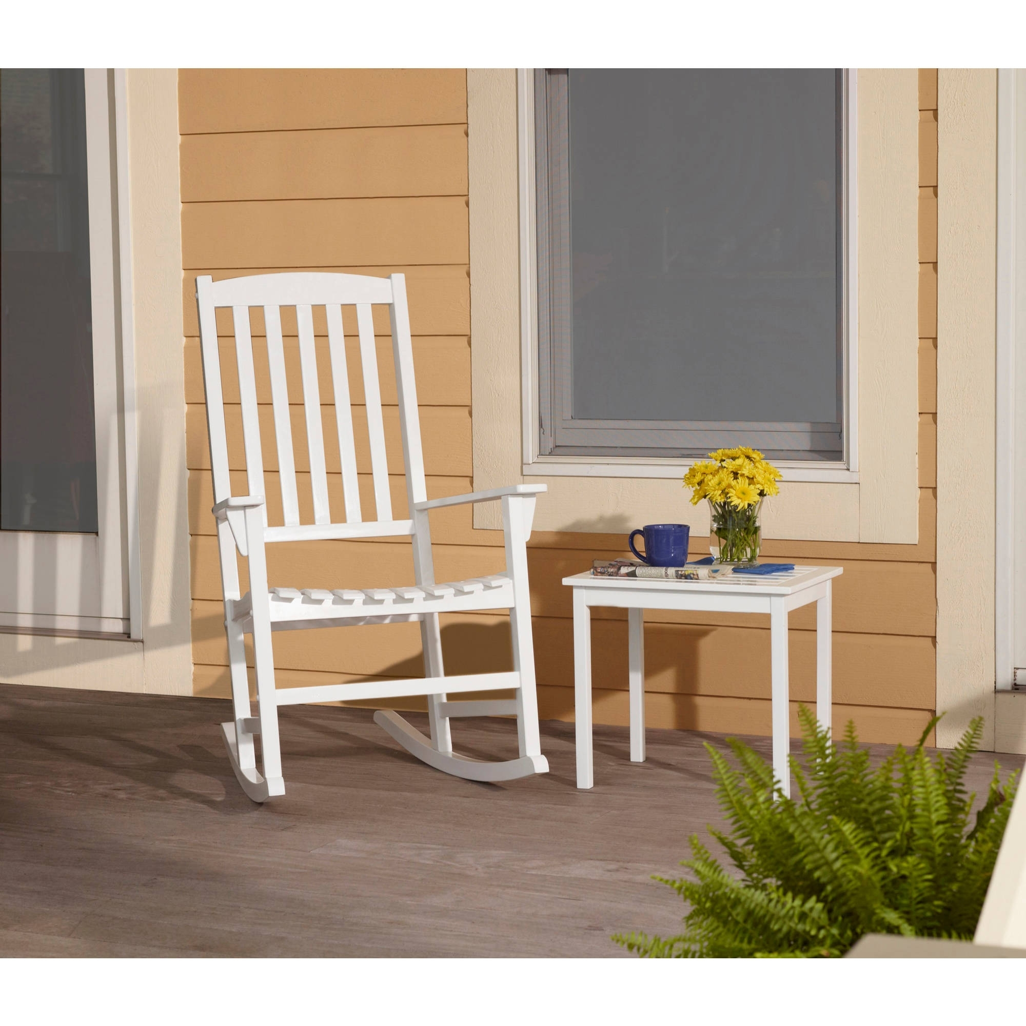 Mainstays Outdoor Rocking Chair, White – Walmart With Regard To Well Liked Rocking Chairs At Walmart (View 2 of 15)