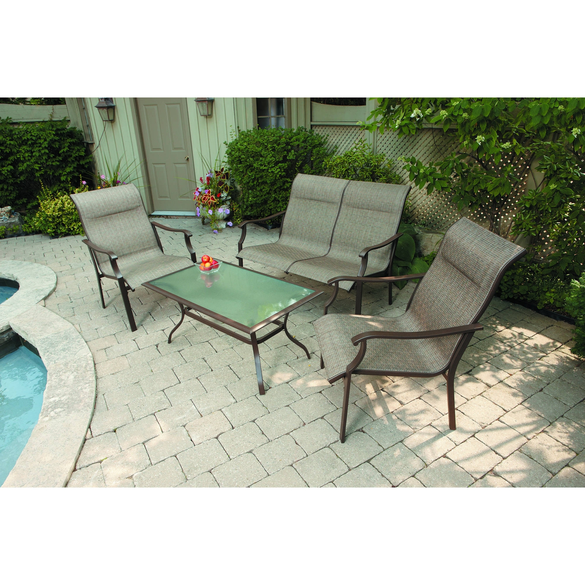 Mainstays York 4Pc Sling Sofa Set – Walmart Inside Latest Sling Patio Conversation Sets (View 6 of 15)