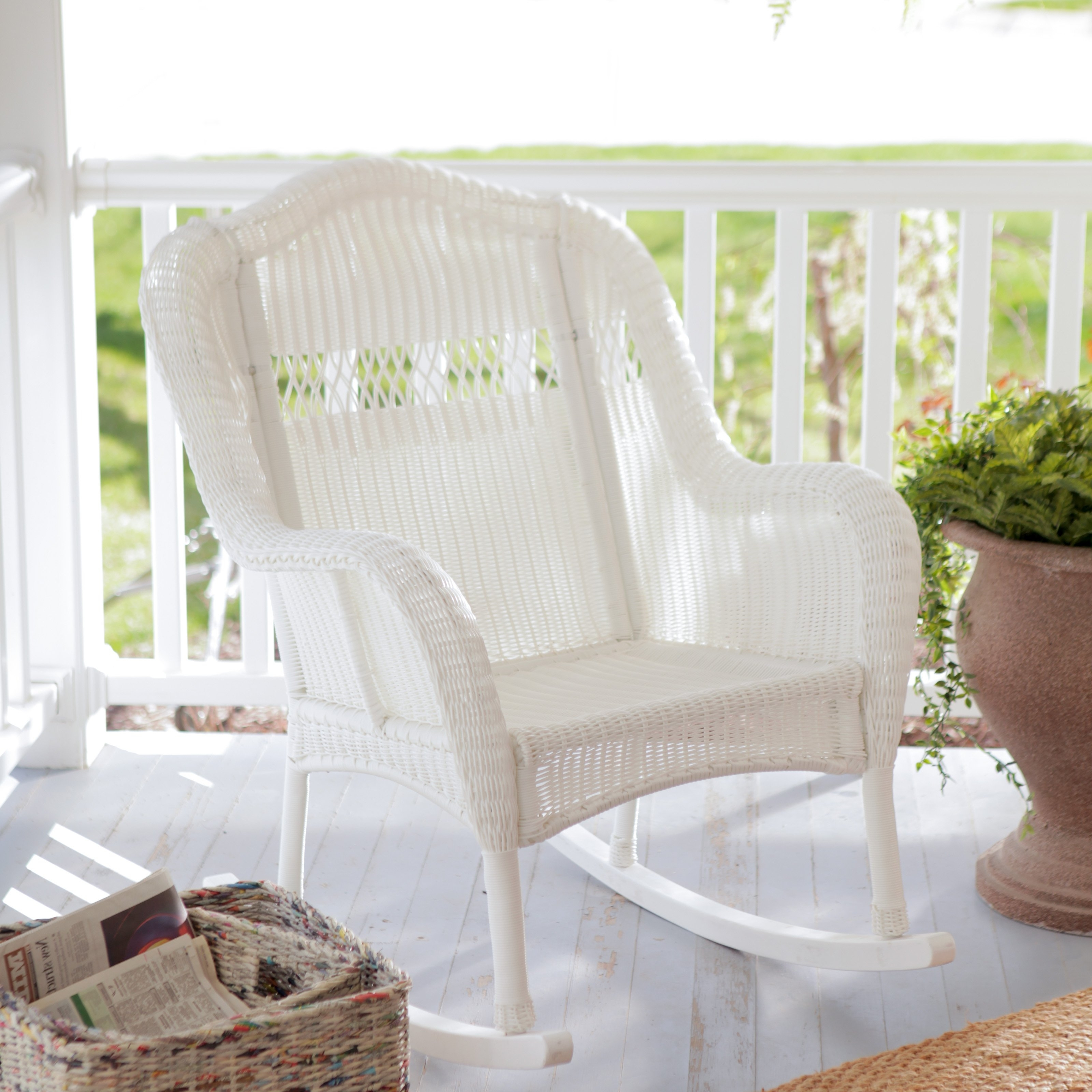 Marvelous White Wicker Rocking Chair On Stunning Barstools And With Regard To 2017 White Wicker Rocking Chairs (View 7 of 15)