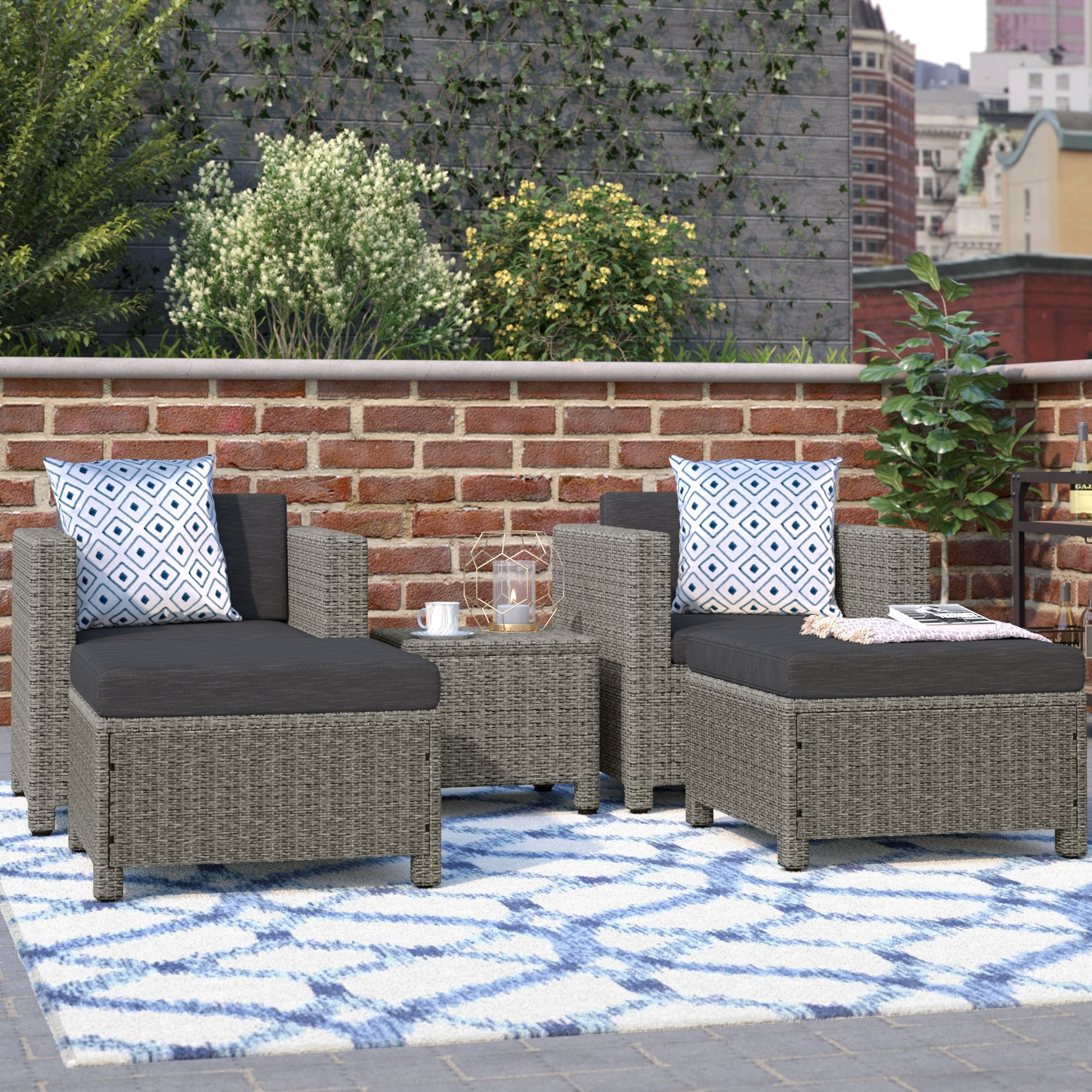 Mercury Row Delfino 5 Piece Conversation Set With Cushions & Reviews Intended For Most Current Patio Conversation Sets With Cushions (View 5 of 15)